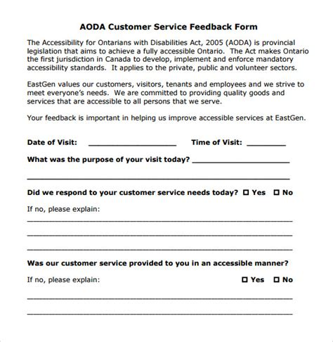 customer feedback form template 12 service feedback form templates to for free