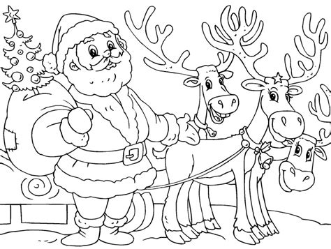 santa and reindeer coloring page az coloring pages