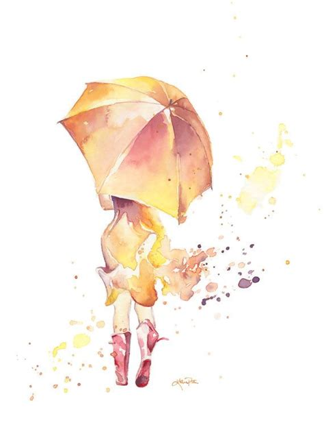 watercolor tattoo umbrella watercolor quot wellies in a yellow and