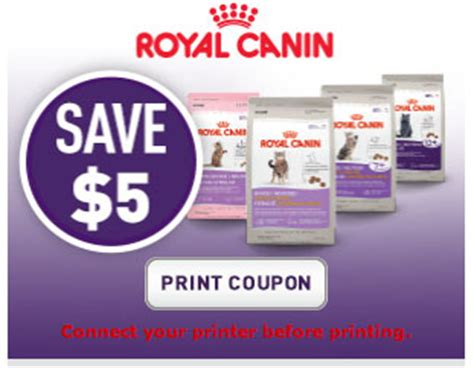 printable coupons royal canin cat food royal canin coupon for cat food save 5