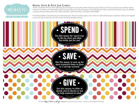 printable money jar labels save spend and give jars for kids printable label i love