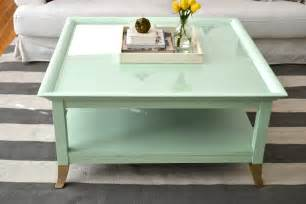 mint coffee table with gold a makeover