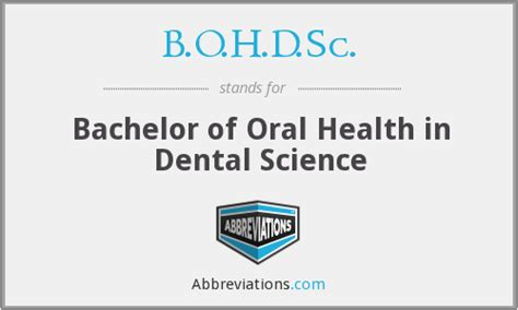b o h d sc bachelor of health in dental science