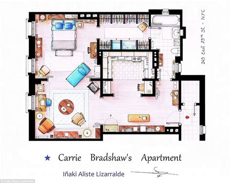 Artists Sketch Floorplan Of Friends Apartments And Other Famous Tv Shows Daily Mail Online | artists sketch floorplan of friends apartments and other