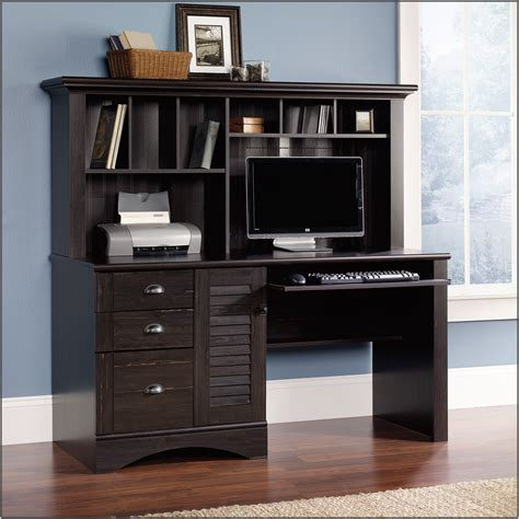 Sauder Black Computer Desk Sauder Harbor View Computer Desk With Hutch Black Page Home Design Ideas Galleries
