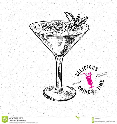 cocktail sketch illustration of cocktail stock vector image
