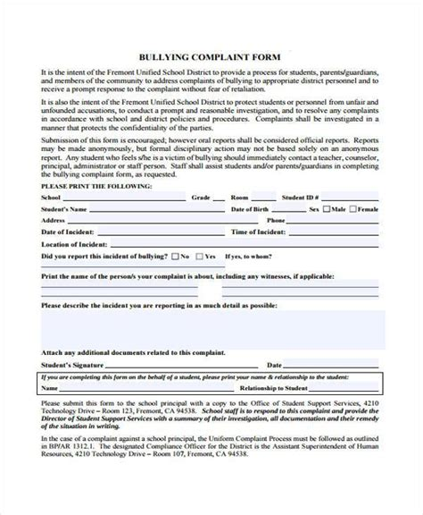 Complaint Letter Bully Manager 10 School Complaint Form Sles Free Sle Exle Format
