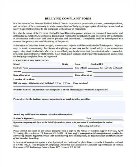 Complaint Letter Bullying Sle Letter Of Complaint To School Regarding Bullying Cover Letter Templates