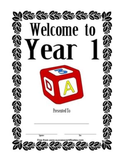 welcome certificate templates welcome to year 1 school certificate 2 certificate
