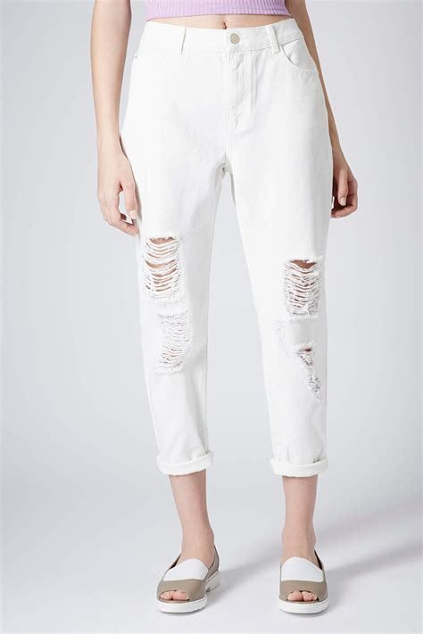 lyst topshop moto white ripped in white