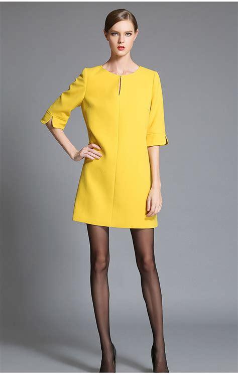 Winter Yellow fashion winter dresses plus size thicken dress