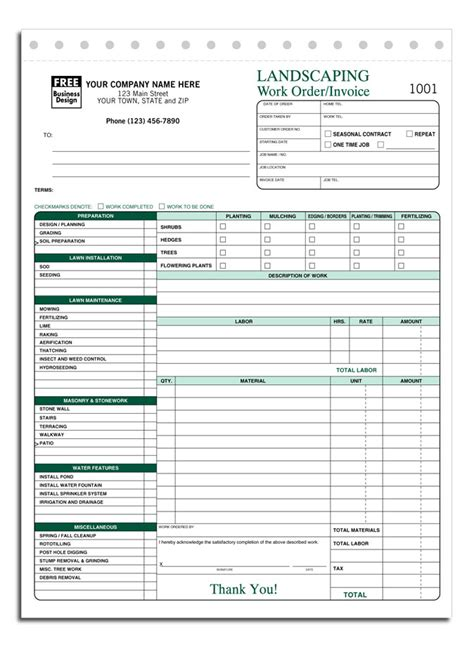 free work invoice template free lawn care invoice template free business template