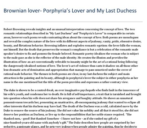 My Last Duchess Essay by Comparing Browning S Quot Porphyrias Lover Quot And Quot My Last Duchess Quot Gcse Marked By