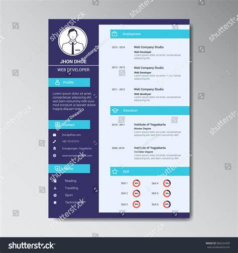 curriculum vitae flat design unique flat color curriculum vitae design stock vector