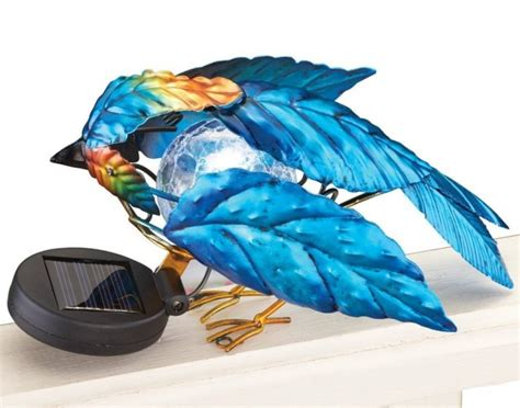 blue bird home decor solar blue bird fence topper garden decoration fresh