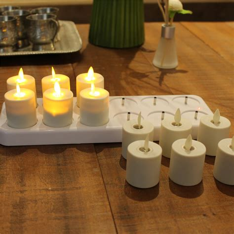 rechargeable tea lights with remote rechargeable moving wick flameless white wax led tea light
