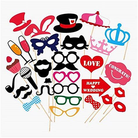 31 pcs/set Wedding Photo Booth Props on A Stick Mustache Lip DIY Kit Fun Photobooth Wedding
