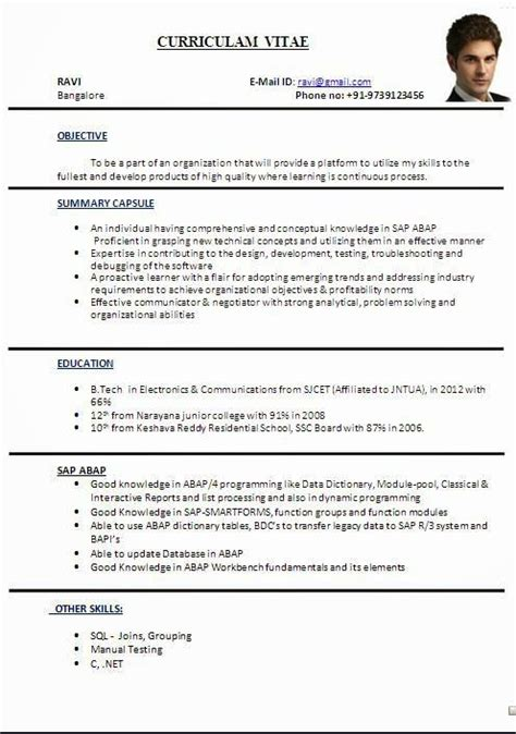 Resume Format B Tech Freshers Doc Cv Format In Word File Sle Template Ofbeautiful Curriculum Vitae Resume Format With Career