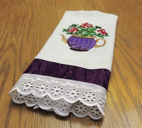 designs kitchen towels embroidered honeycomb waffle kitchen towel herb designs