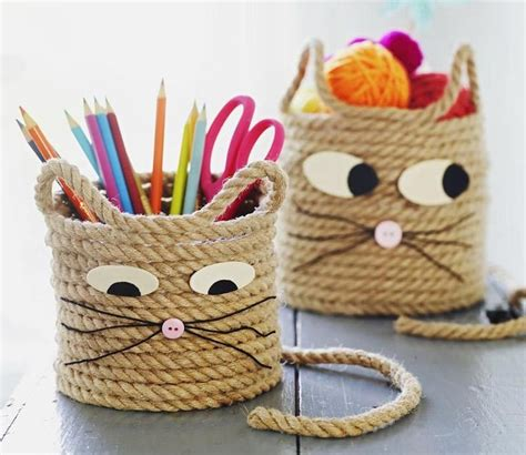 arts and crafts ideas easy craft for cat storage baskets storage