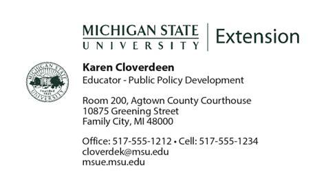 msu business card template business cards organizational development