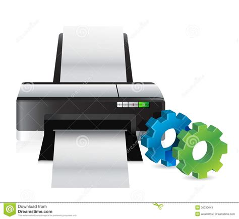 Gear Printer printer with industrial gears stock photos image 30030643