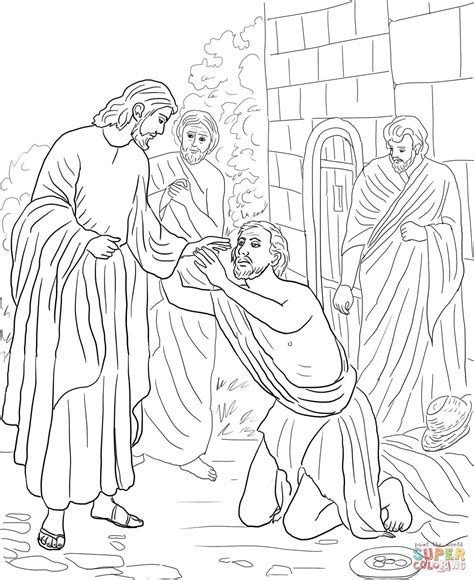 jesus heals blind bartimaeus coloring page free