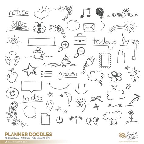 Planner Doodle Vector Brushes And Overlays