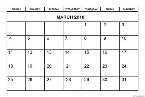 Calendar March 2018 Printable