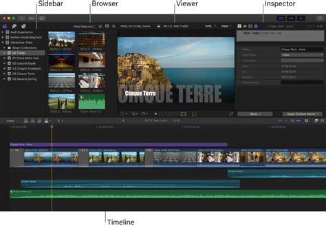 final cut pro on windows final cut pro x arrange areas of the final cut pro window
