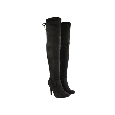 black faux leather stretch thigh high heel boots lois