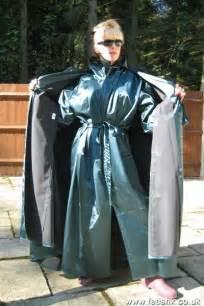 stunning rubberized satin mackintosh coat and cape