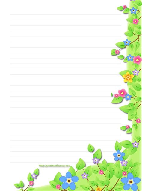 lined paper with plant border free border templates free floral stationery stationary