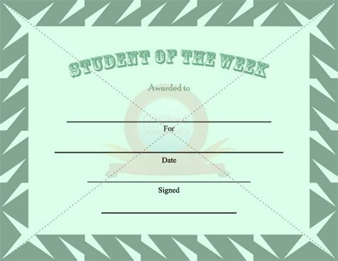 of the week certificate template 11 best images about student certificate templates on