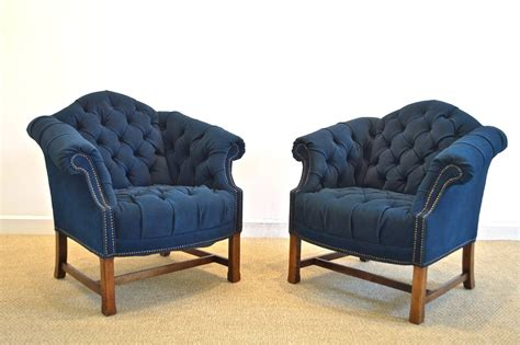navy tufted barrel chair button tufted club chairs in navy canvas for sale at 1stdibs