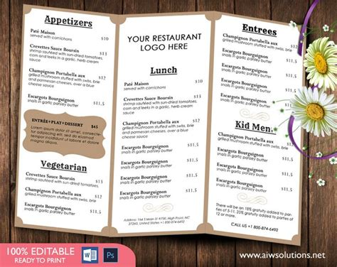 bar menu template free menutemplates printable restaurant menu template