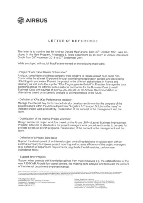 Recommendation Letter Human Resources Andrew Macfarlane Airbus Human Resources Recommendation Letter