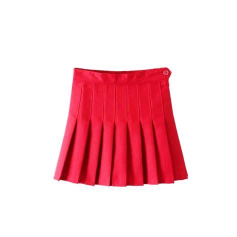 Pleated Plain Mini Skirt s high waist zip slim tennis plain skater pleated