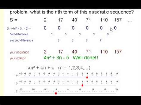 pattern in solving numbers without manually computing nth term of a quadratic sequence difference method youtube