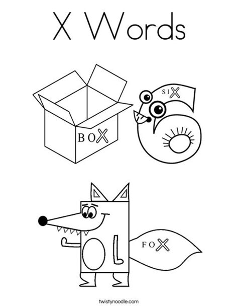 Words Letter X x words coloring page twisty noodle
