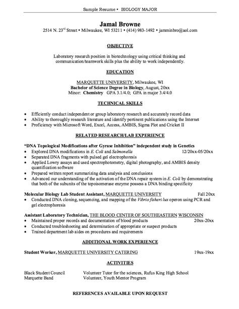 Resume Exles For Majors Biology Resume Sle Jennywashere