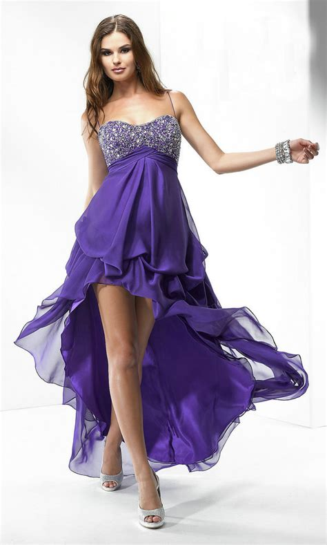 prom dresses in front in back purple www