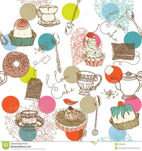 Pastry and Cake Background stock illustration ... Free Clipart Cupcakes