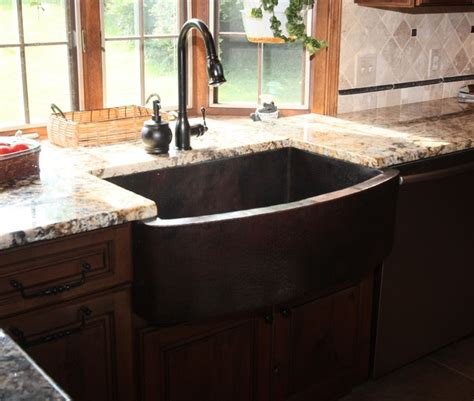 copper apron front sink hammered copper apron front sink traditional kitchen