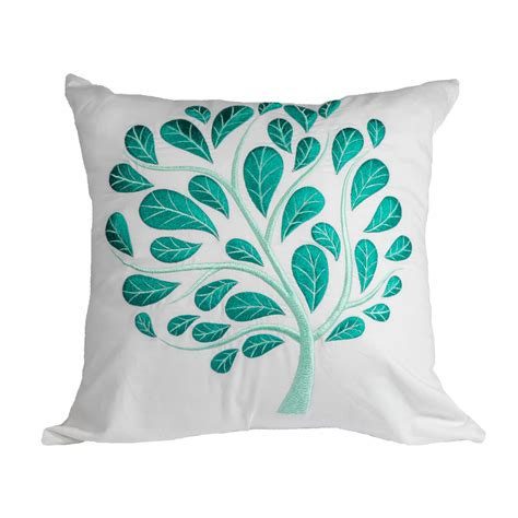 Has With Pillow by White Teal Floral Throw Pillow Cover White Linen Teal