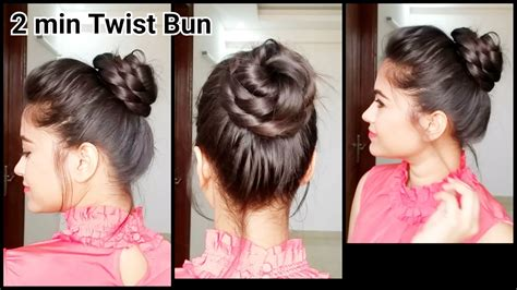 everyday indian hairstyles for medium hair 2 min twist bun everyday easy hairstyles for medium to
