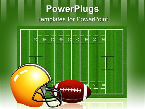 Powerpoint Template The Measurement Of The Rugby Field Along With A Helmet And Football 12823 Football Field Powerpoint Template