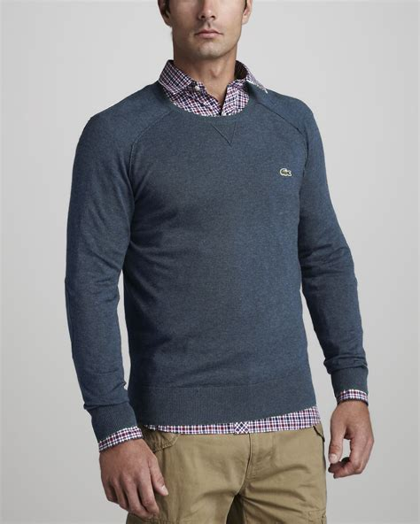 lacoste suede patch sweater in gray for dauphin clair