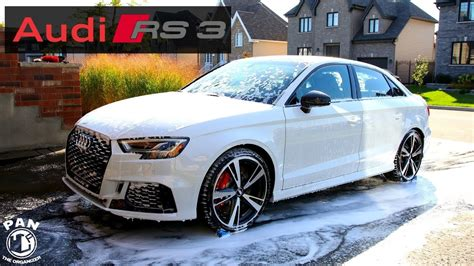 white audi rs3 audi rs3 2018 detail of a white car