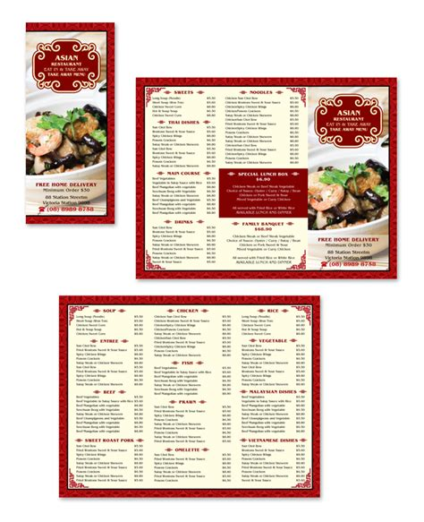 takeaway menu template free asian restaurant take away menu template